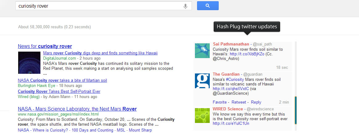 Hash Plug Real Time Search Extension for Google